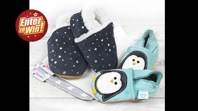 Win a Dotty Fish Hamper including a pair of Soft Soled Leather Shoes, a pair of Suede Slippers and two Bandana Bibs
