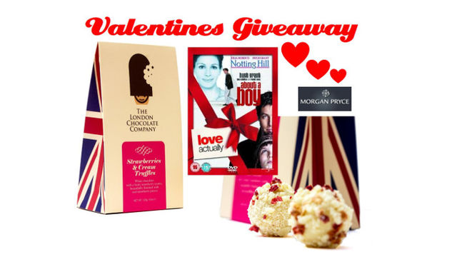 Valentine pack includes films Notting Hill, About a Boy and Love Actually all on DVD along with Strawberry and Cream truffles