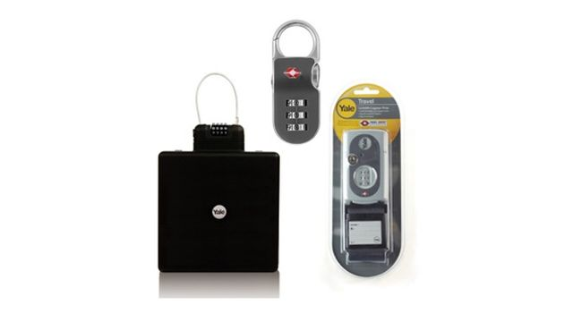 Yale Travel Security Kit - TSA clip-on padlock, TSA luggage strap and portable travel safe